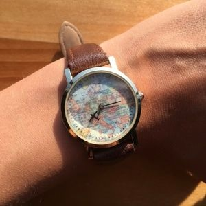 Brown/Gold Watch with World Map Face
